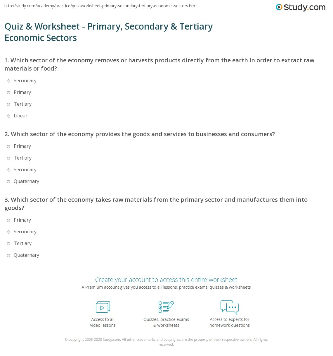 Printables Economics Worksheets printables economics worksheets for high school safarmediapps quiz worksheet primary secondary tertiary economic sectors print worksheet