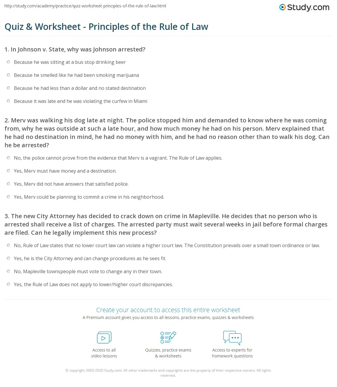 Printables Criminal Law Worksheets quiz worksheet principles of the rule law study com 1 merv was walking his dog late at night police stopped him and demanded to know where he coming from why outside at