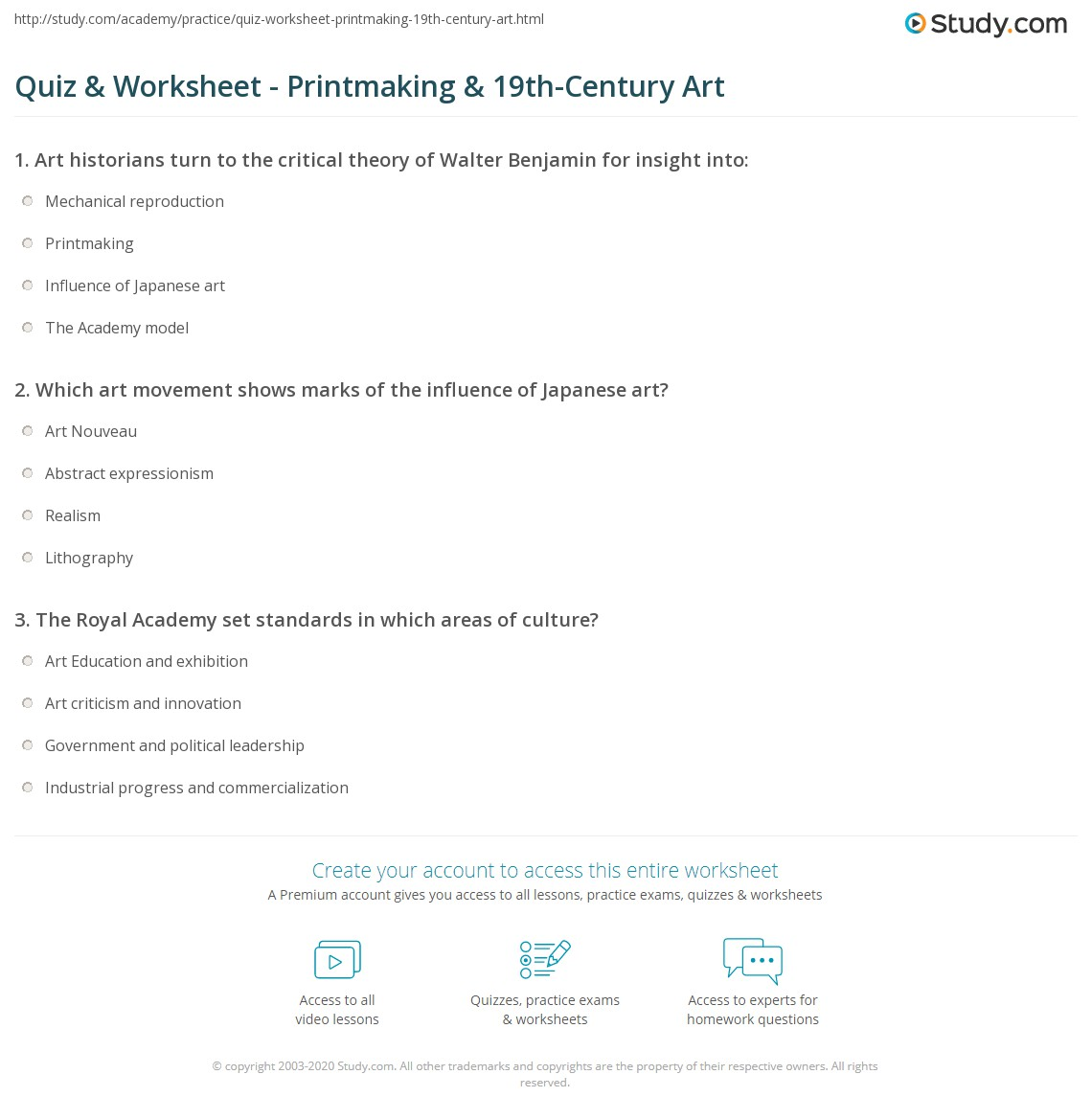 Quiz Worksheet Printmaking 19thCentury Art – Art Criticism Worksheet
