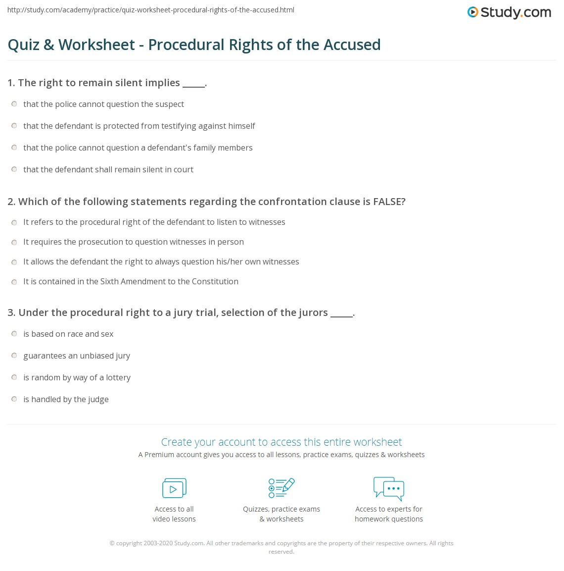 quiz worksheet procedural rights of the accused. Black Bedroom Furniture Sets. Home Design Ideas