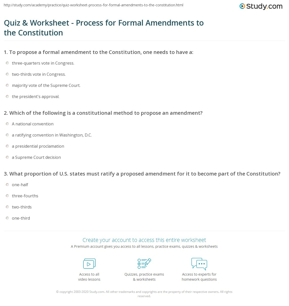 quiz worksheet process for formal amendments to the constitution. Black Bedroom Furniture Sets. Home Design Ideas