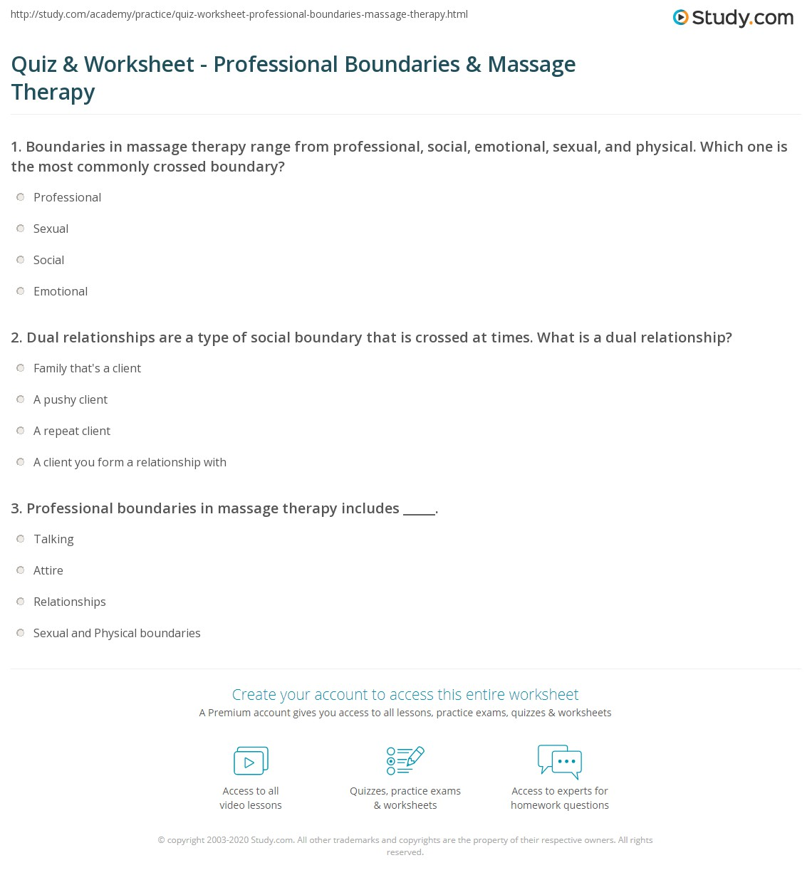 Quiz Worksheet Professional Boundaries Massage Therapy – Boundaries in Relationships Worksheet