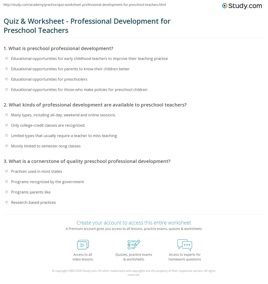 quiz worksheet professional development for preschool teachers print preschool teacher professional development worksheet