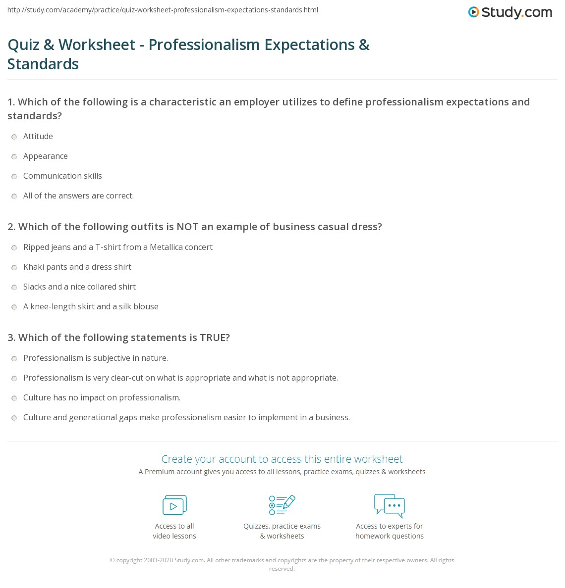 quiz worksheet professionalism expectations standards print expectations standards for professionalism at work worksheet