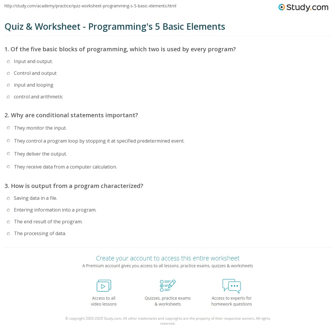 Print 5 Basic Elements Of Programming Worksheet Quiz & Worksheet  Programming's 5 Basic Elements Study