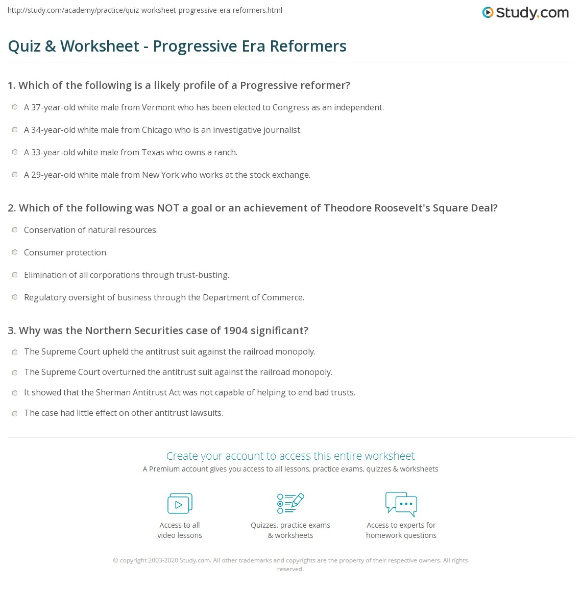 Worksheets Progressive Era Worksheets quiz worksheet progressive era reformers study com print theodore roosevelt the progressives definition and political agenda worksheet