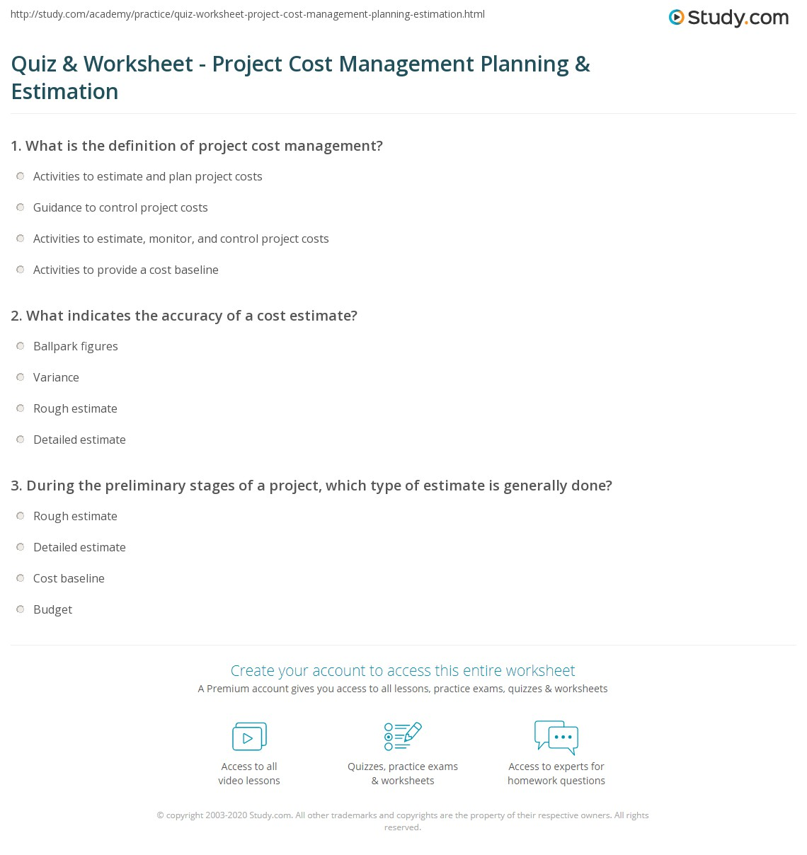 Quiz Worksheet Project Cost Management Planning Estimation – Ballpark Estimate Worksheets