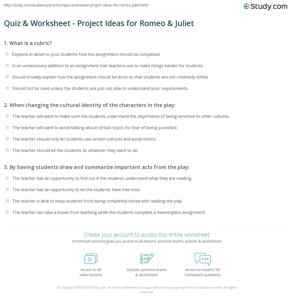 Quiz Worksheet Project Ideas for Romeo Juliet – Romeo and Juliet Worksheet
