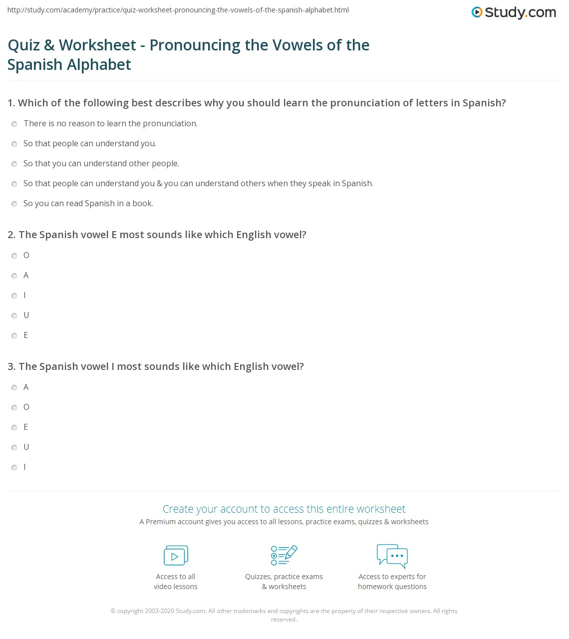 Quiz Worksheet Pronouncing the Vowels of the Spanish Alphabet – Learn Spanish Worksheets