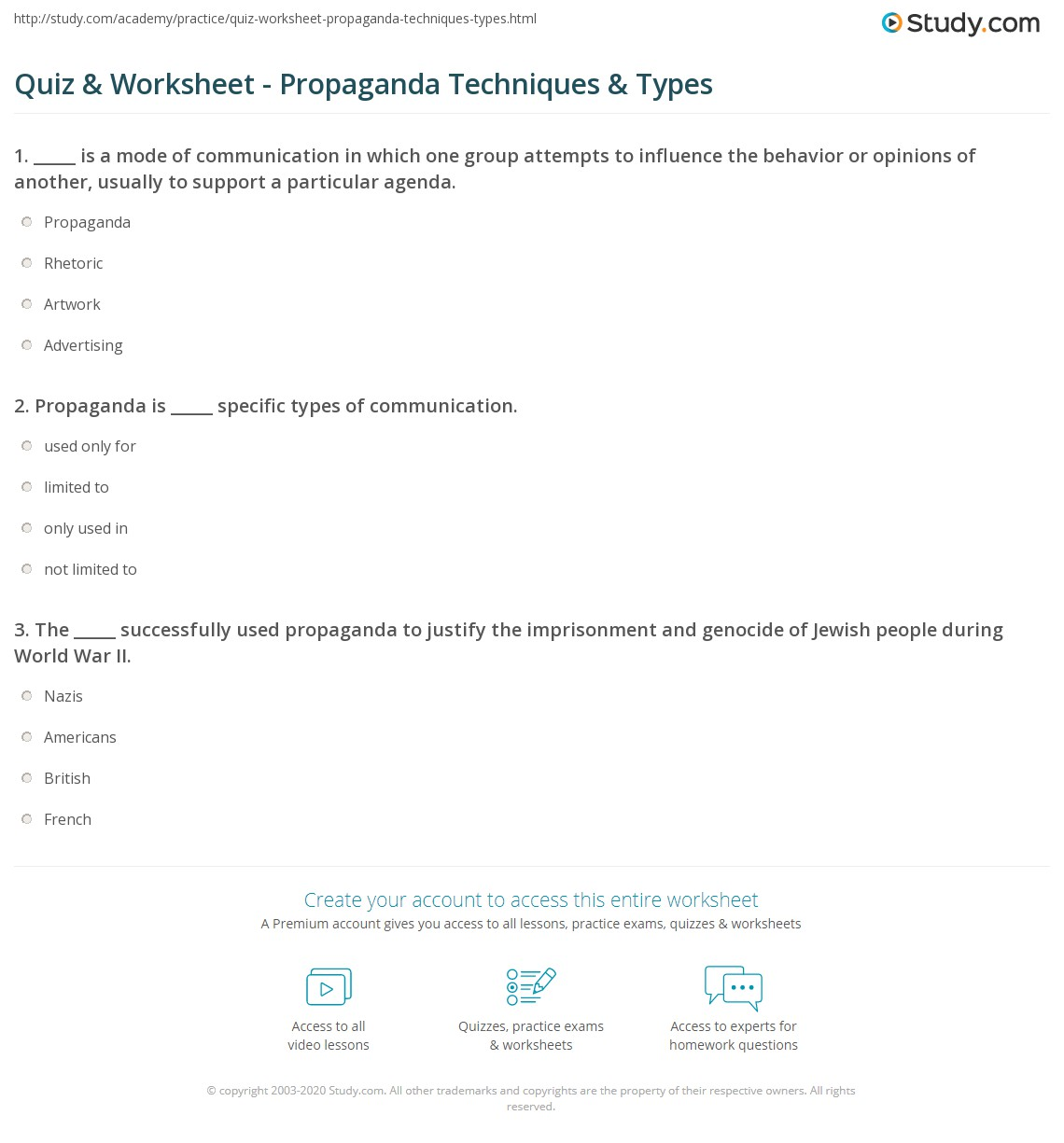 {Quiz Worksheet Propaganda Techniques Types – Propaganda Worksheets