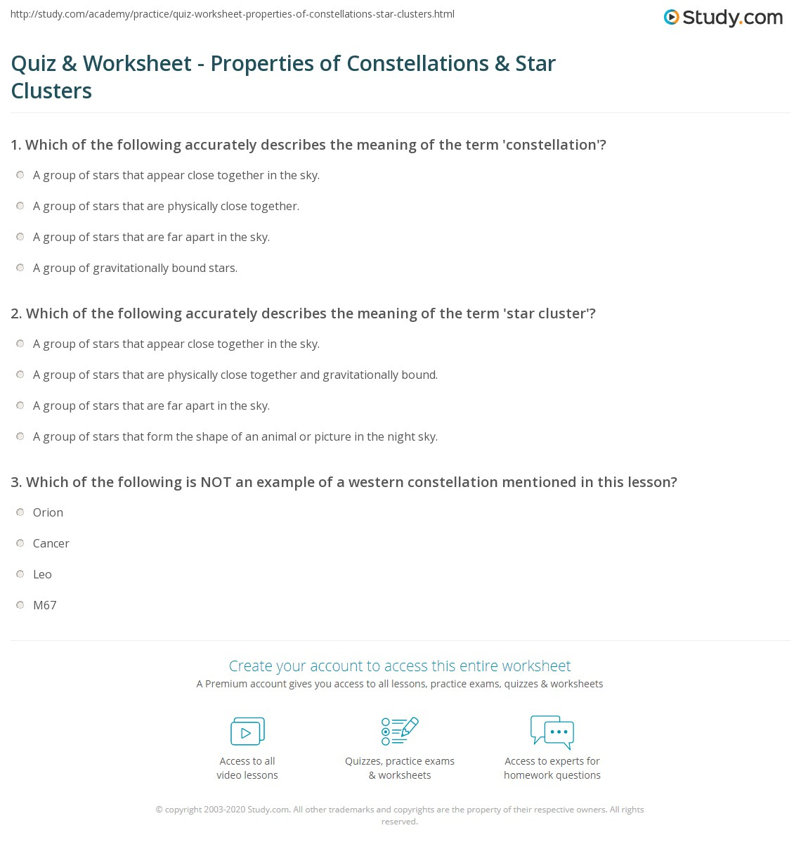 worksheet Constellation Worksheet quiz worksheet properties of constellations star clusters print what is a constellation definition facts formation examples worksheet