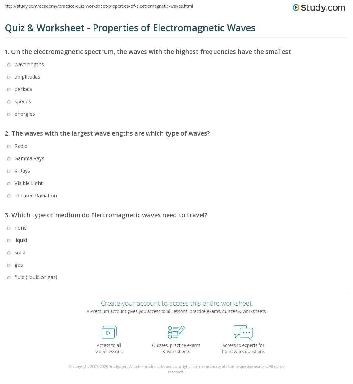 Quiz Worksheet Properties of Electromagnetic Waves – Wave Properties Worksheet