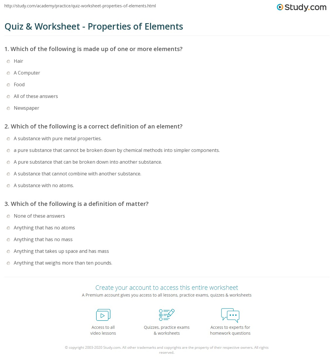Free Worksheet Element Worksheet Answers quiz worksheet properties of elements study com print what are worksheet