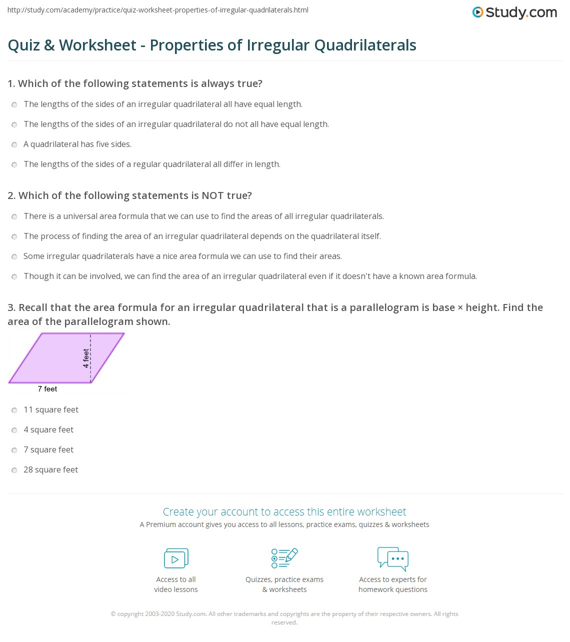worksheet Area Of Quadrilaterals Worksheet quiz worksheet properties of irregular quadrilaterals study com print definition area worksheet