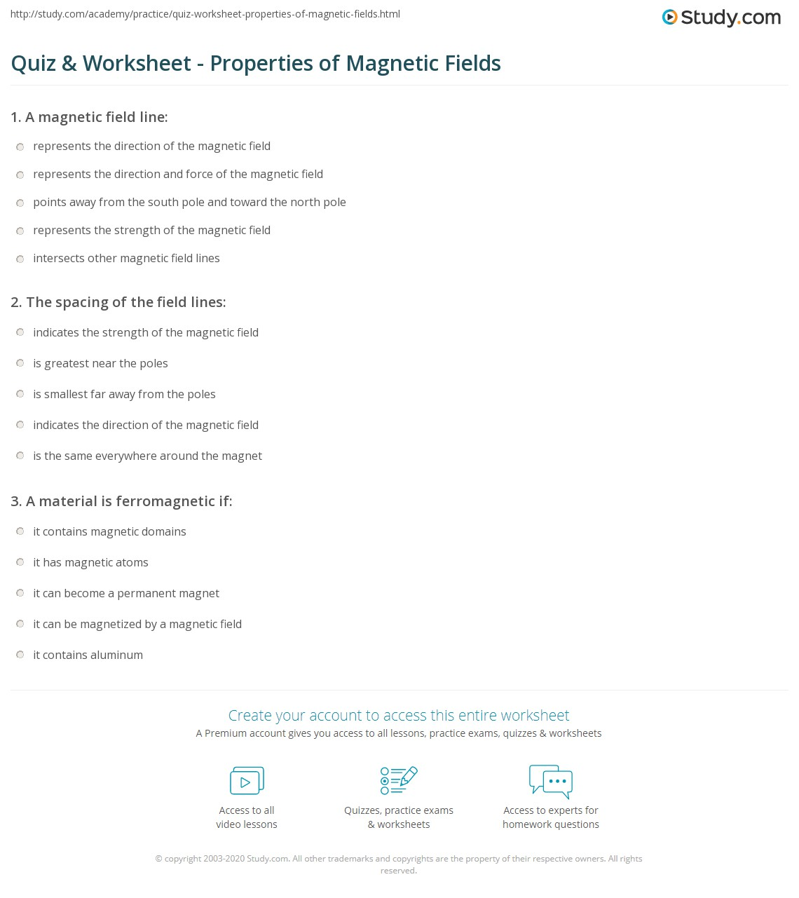 Quiz & Worksheet - Properties of Magnetic Fields | Study.com
