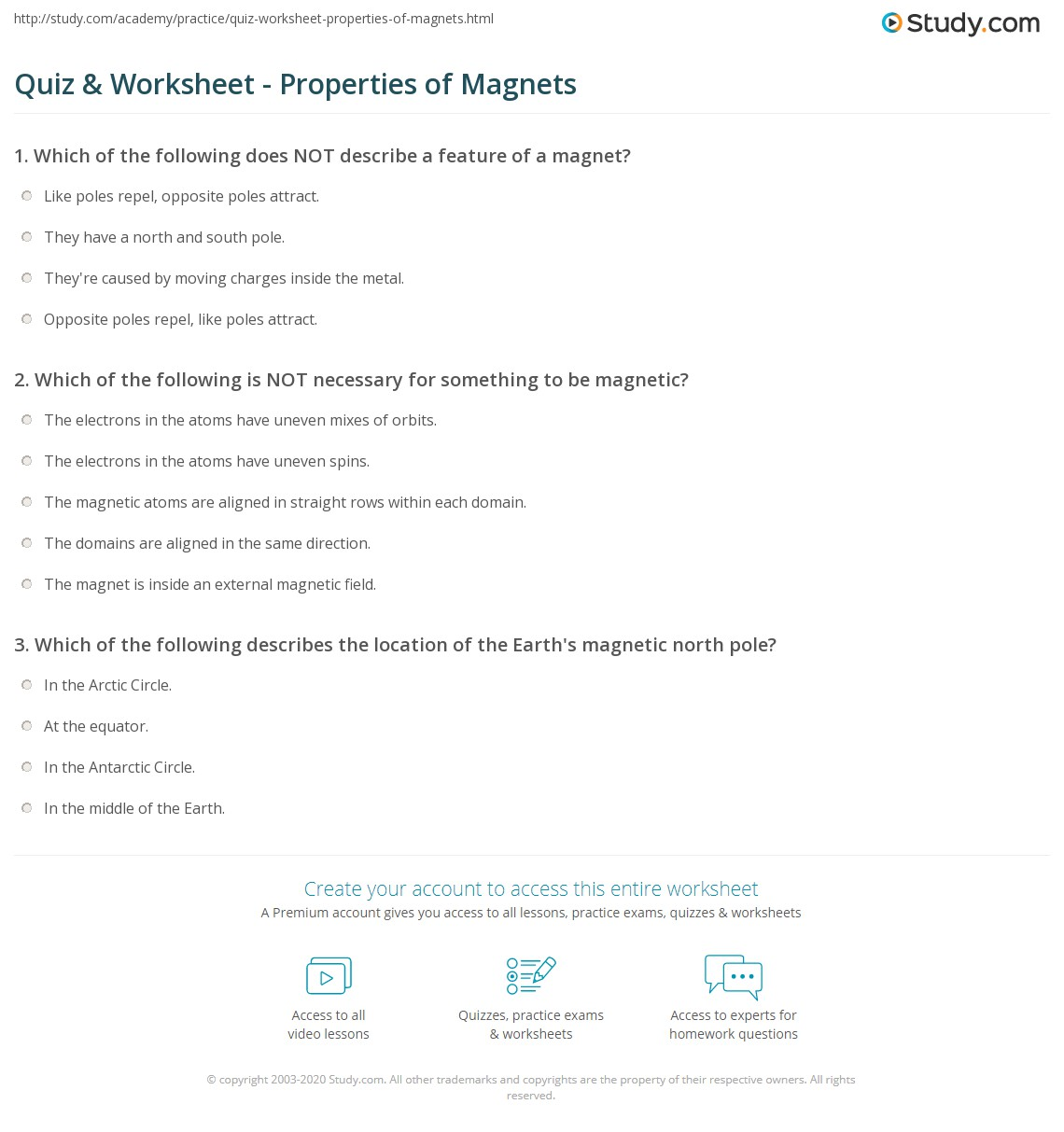 Quiz Worksheet Properties of Magnets – Magnet Worksheets