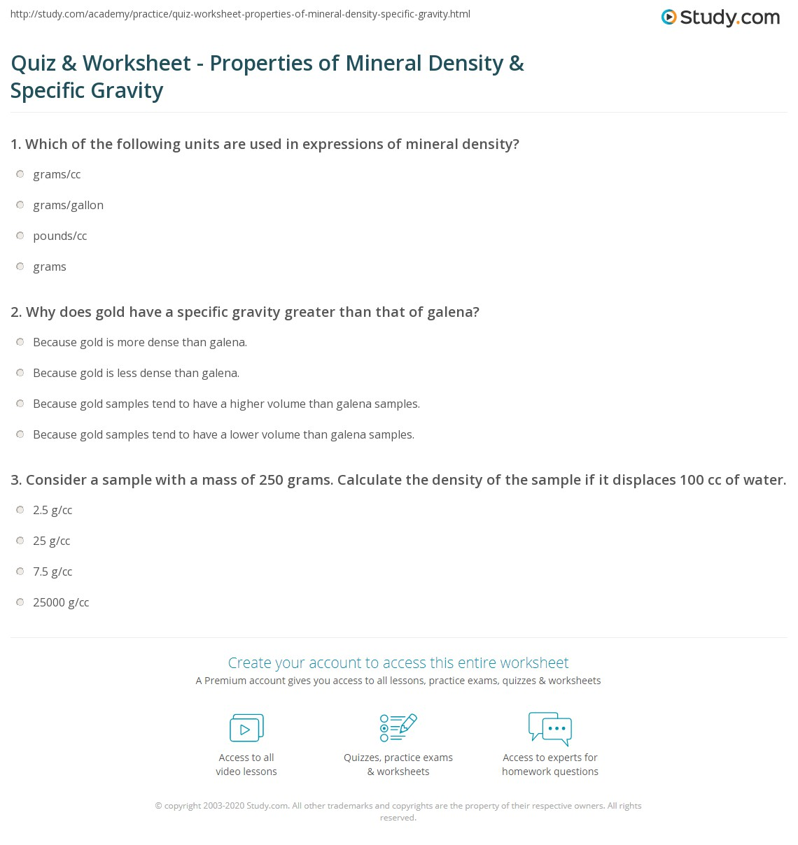 Quiz Worksheet Properties of Mineral Density Specific – Density Practice Problem Worksheet