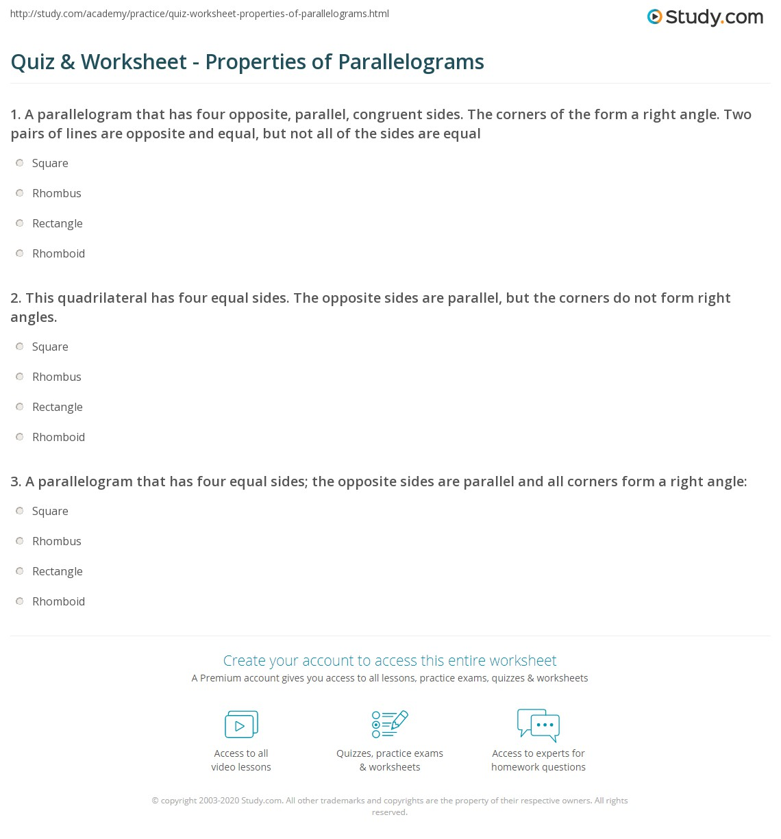 Quiz & Worksheet - Properties of Parallelograms | Study.com