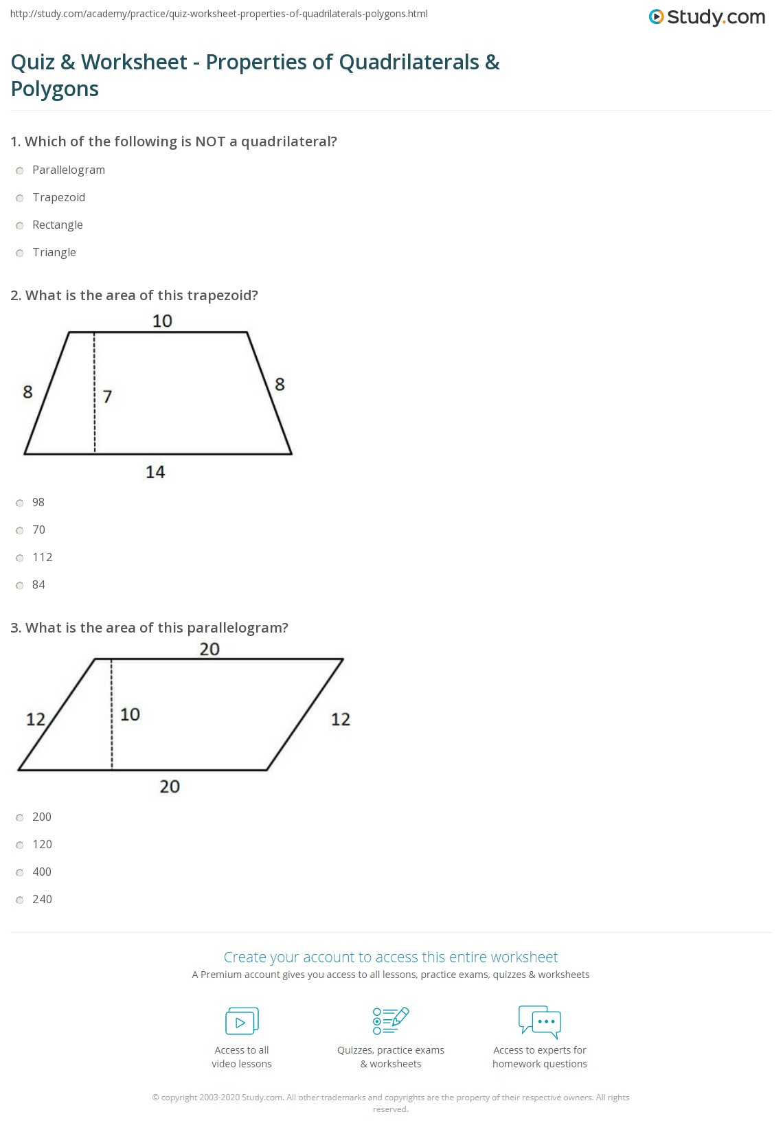 Quiz Worksheet Properties of Quadrilaterals Polygons – Properties of Quadrilaterals Worksheet