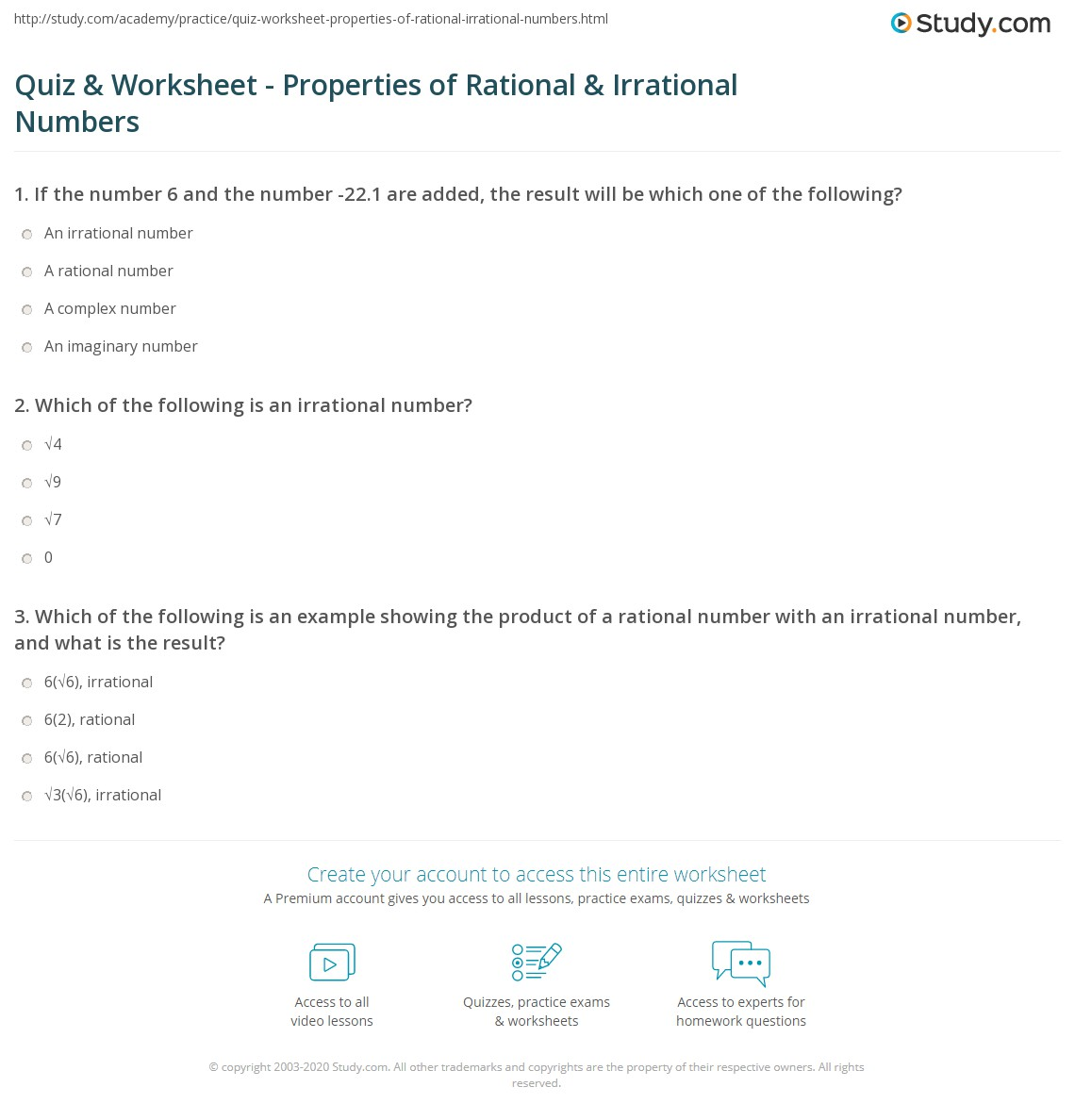 Quiz Worksheet Properties of Rational Irrational Numbers – Rational and Irrational Numbers Worksheet