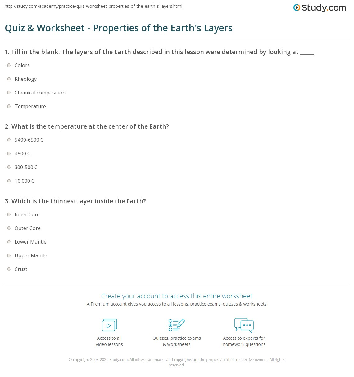 Worksheets Layers Of Earth Worksheet quiz worksheet properties of the earths layers study com print earth facts composition temperature worksheet