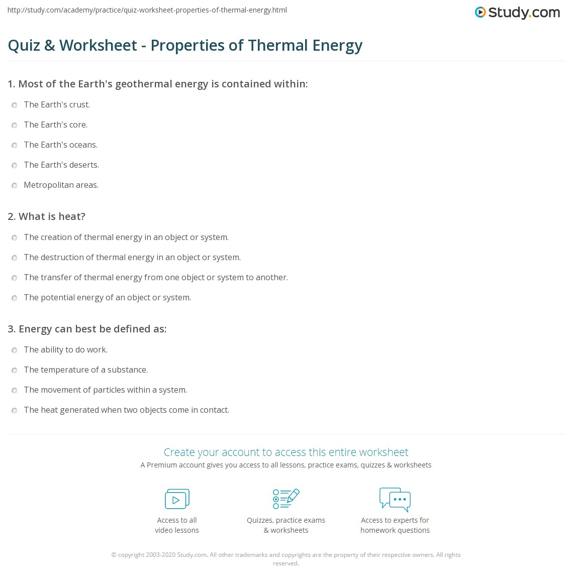 Quiz Worksheet Properties of Thermal Energy – Energy Worksheet Answers