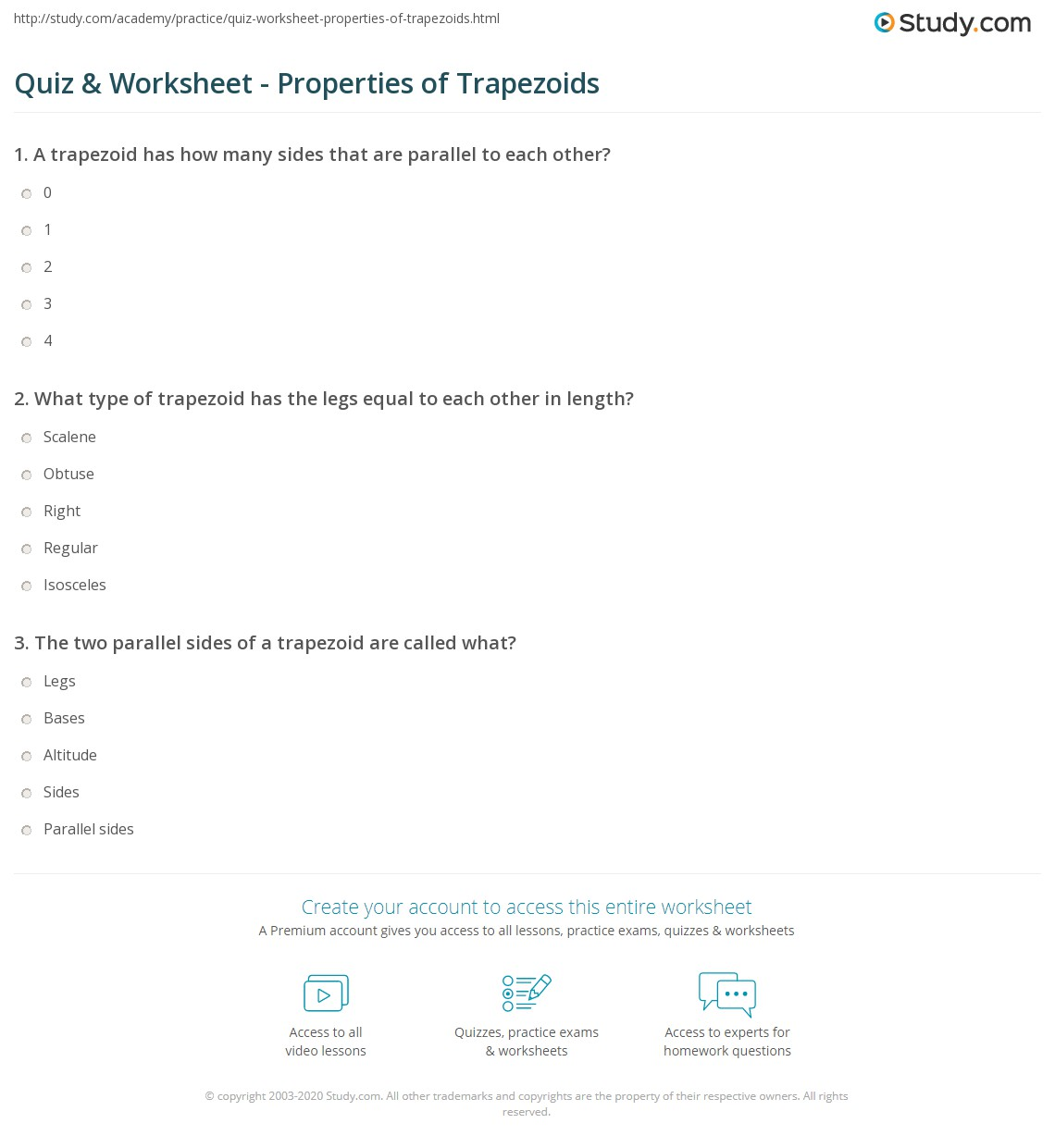 worksheet Properties Of Trapezoids quiz worksheet properties of trapezoids study com print definition and worksheet