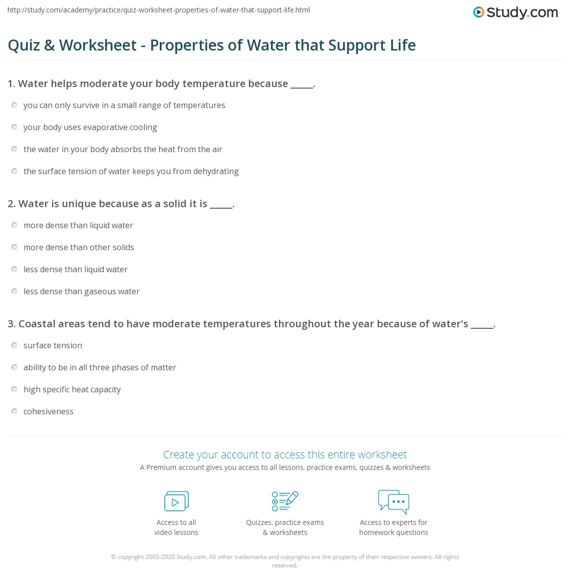 Quiz Worksheet Properties of Water that Support Life – Water Worksheets