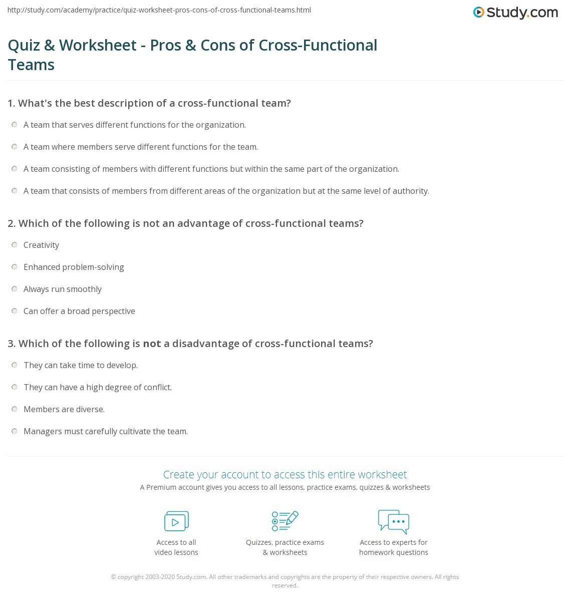 quiz worksheet pros cons of cross functional teams study com print cross functional teams definition advantages disadvantages worksheet