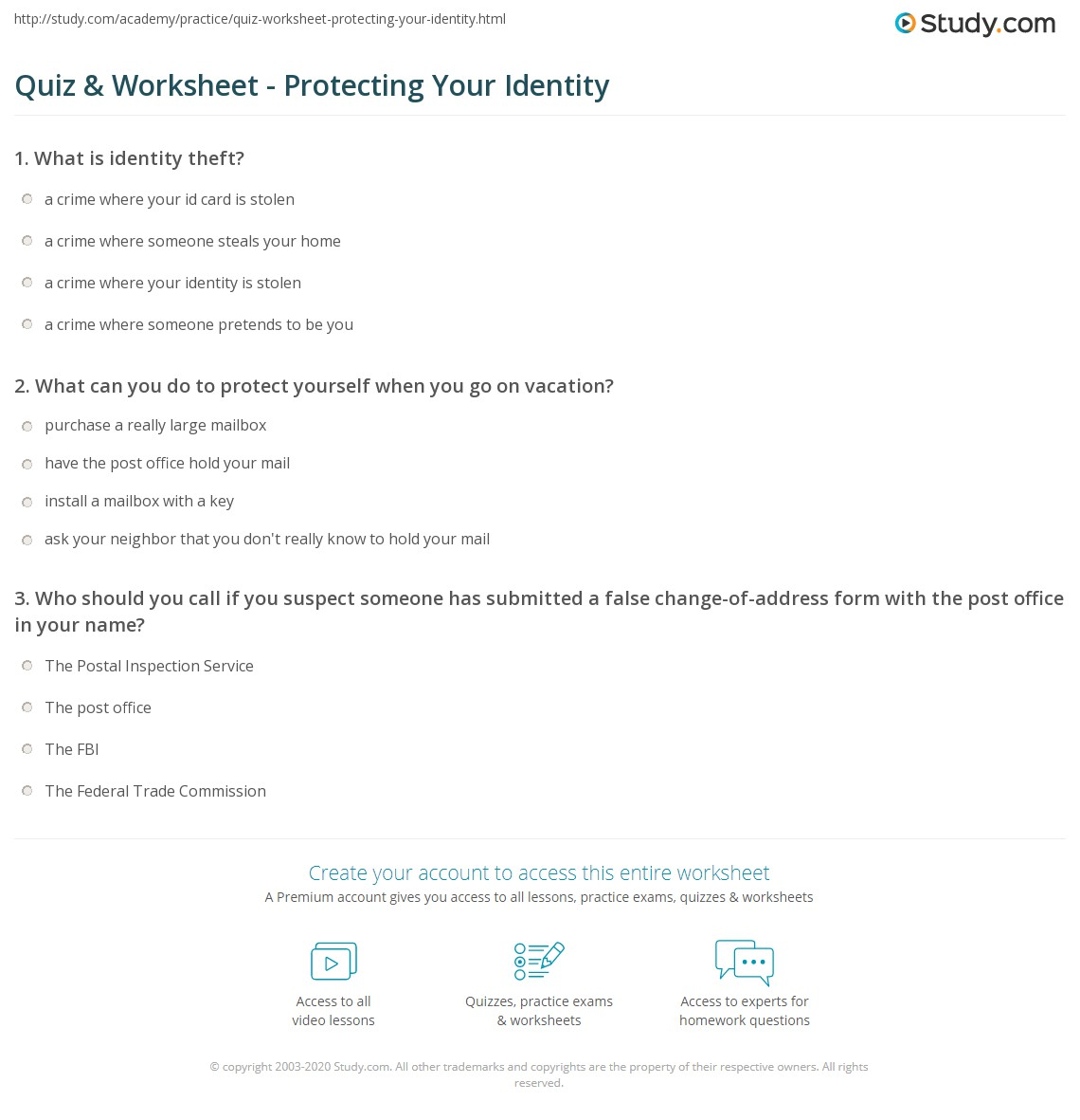 worksheet Protect Worksheet quiz worksheet protecting your identity study com print theft definition protection worksheet