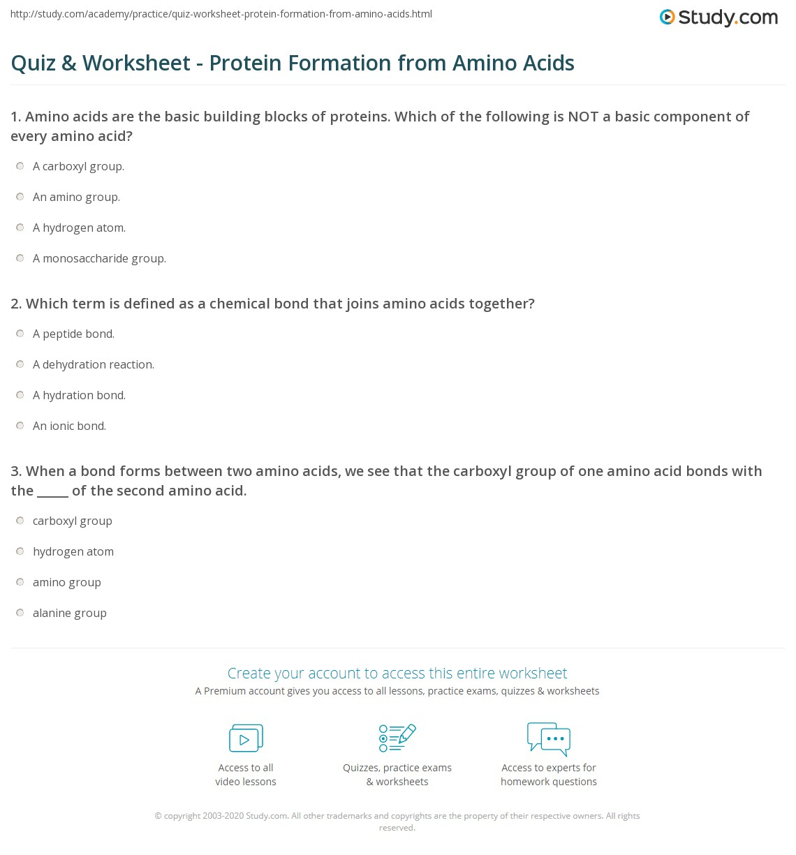 Quiz & Worksheet - Protein Formation from Amino Acids | Study.com