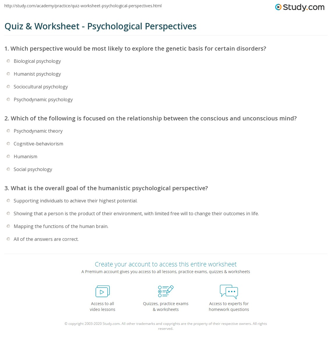 Quiz & Worksheet - Psychological Perspectives | Study.com