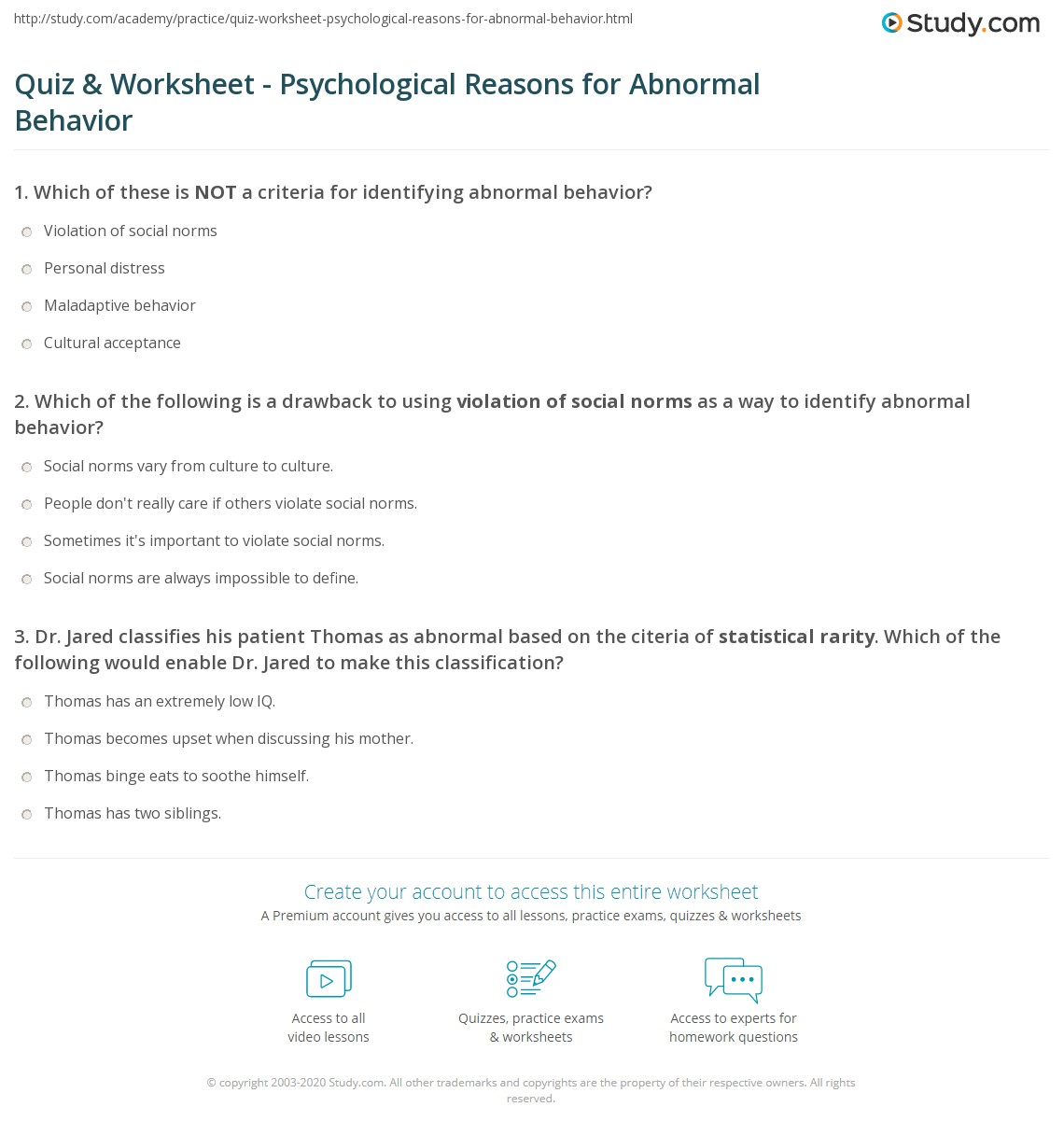 Quiz & Worksheet - Psychological Reasons for Abnormal Behavior | Study ...