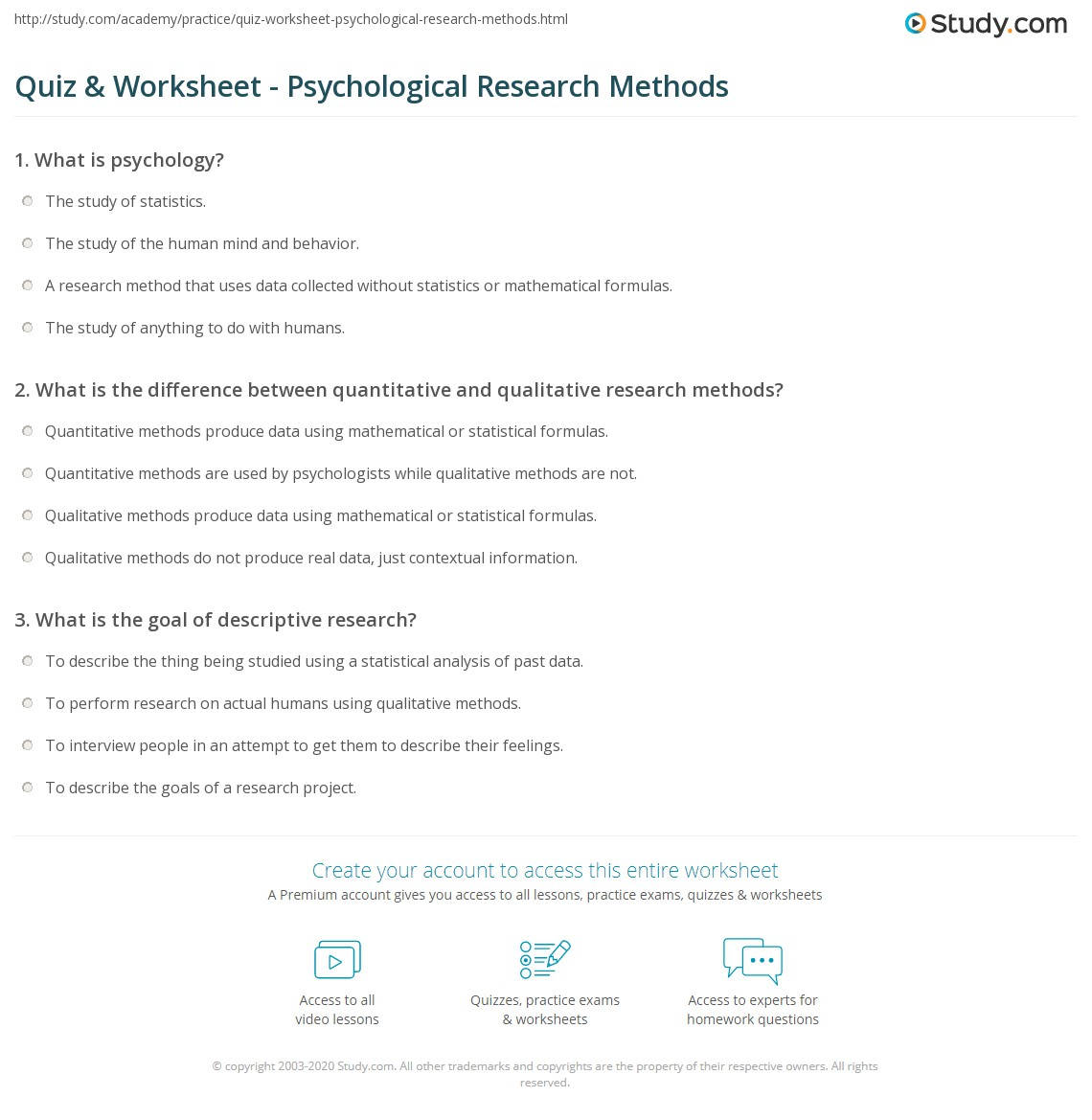 Printables Psychology Worksheets quiz worksheet psychological research methods study com print overview considerations worksheet