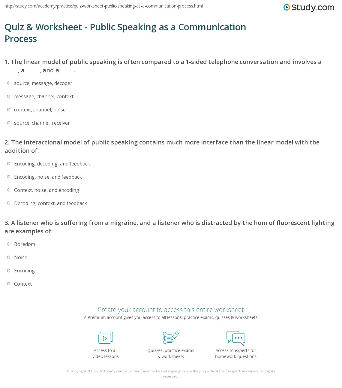 Printables Public Speaking Worksheets quiz worksheet public speaking as a communication process print worksheet