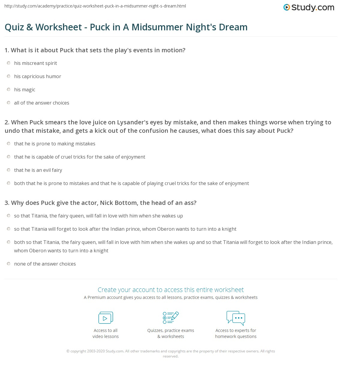 Quiz Worksheet Puck in A Midsummer Nights Dream – Motion Picture Analysis Worksheet