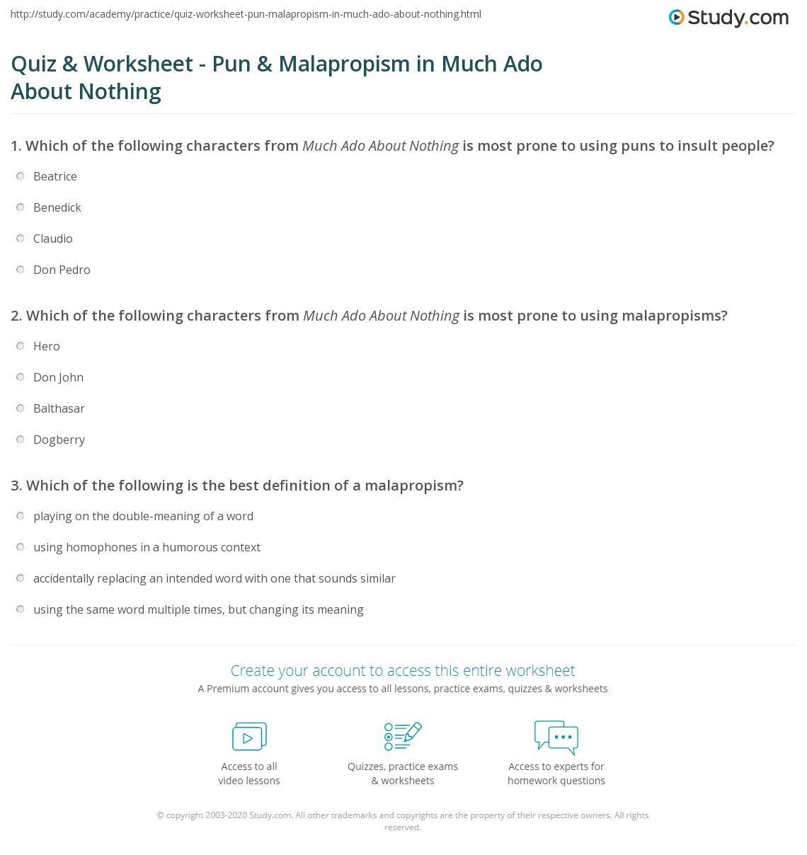 Quiz Worksheet Pun Malapropism in Much Ado About Nothing – Pun Worksheet