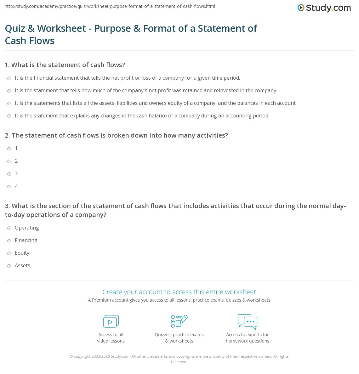 Quiz & Worksheet - Purpose & Format of a Statement of Cash Flows ...