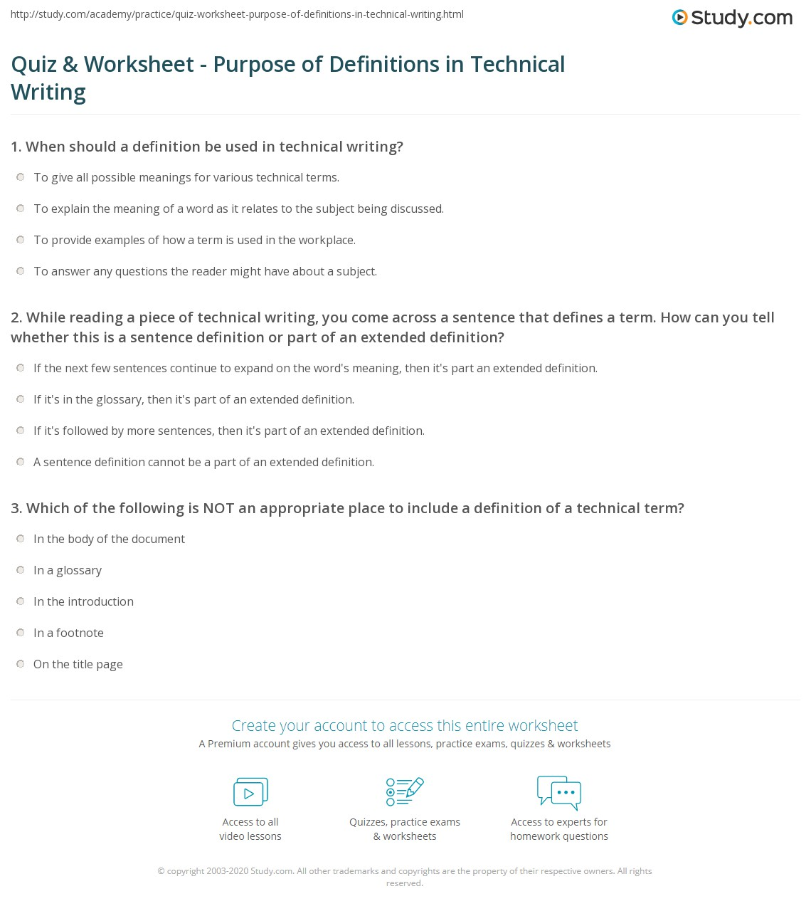 Uncategorized Definition Of Worksheet quiz worksheet purpose of definitions in technical writing while reading a piece you come across sentence that defines term how can tell whether this is sente