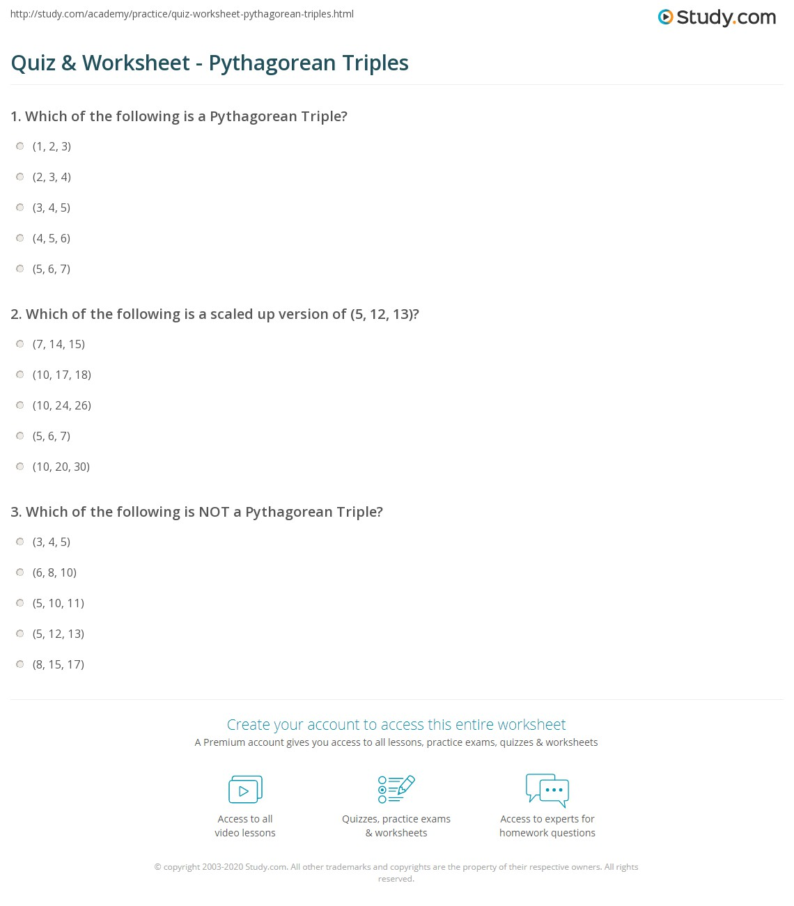 Printables Pythagorean Triples Worksheet quiz worksheet pythagorean triples study com print understanding numbers that are worksheet