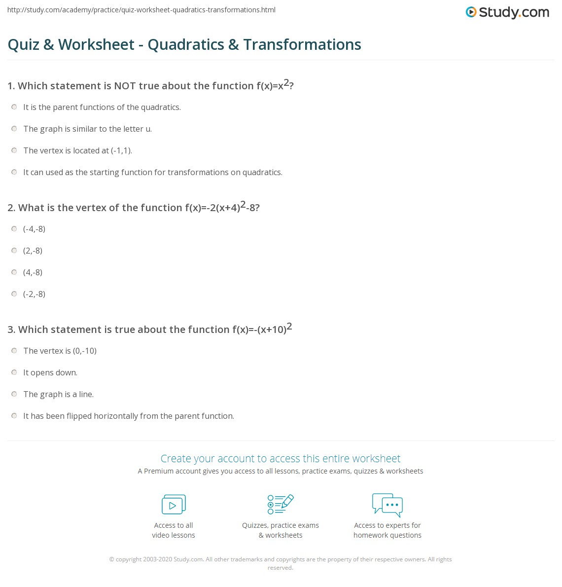 Printables Transformations Of Quadratic Functions Worksheet quiz worksheet quadratics transformations study com print transforming quadratic functions worksheet