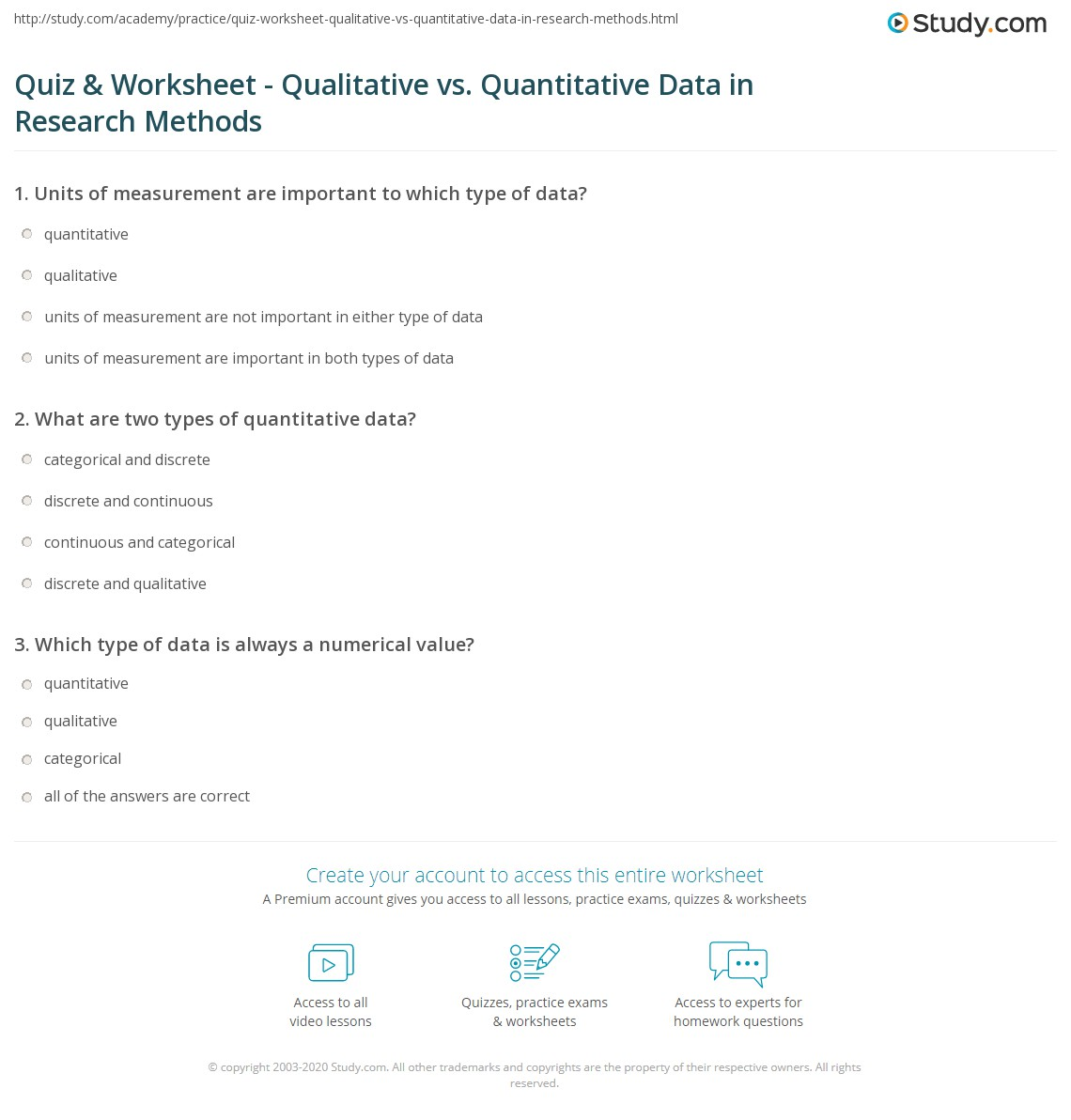 Quiz & Worksheet - Qualitative vs. Quantitative Data in Research ...