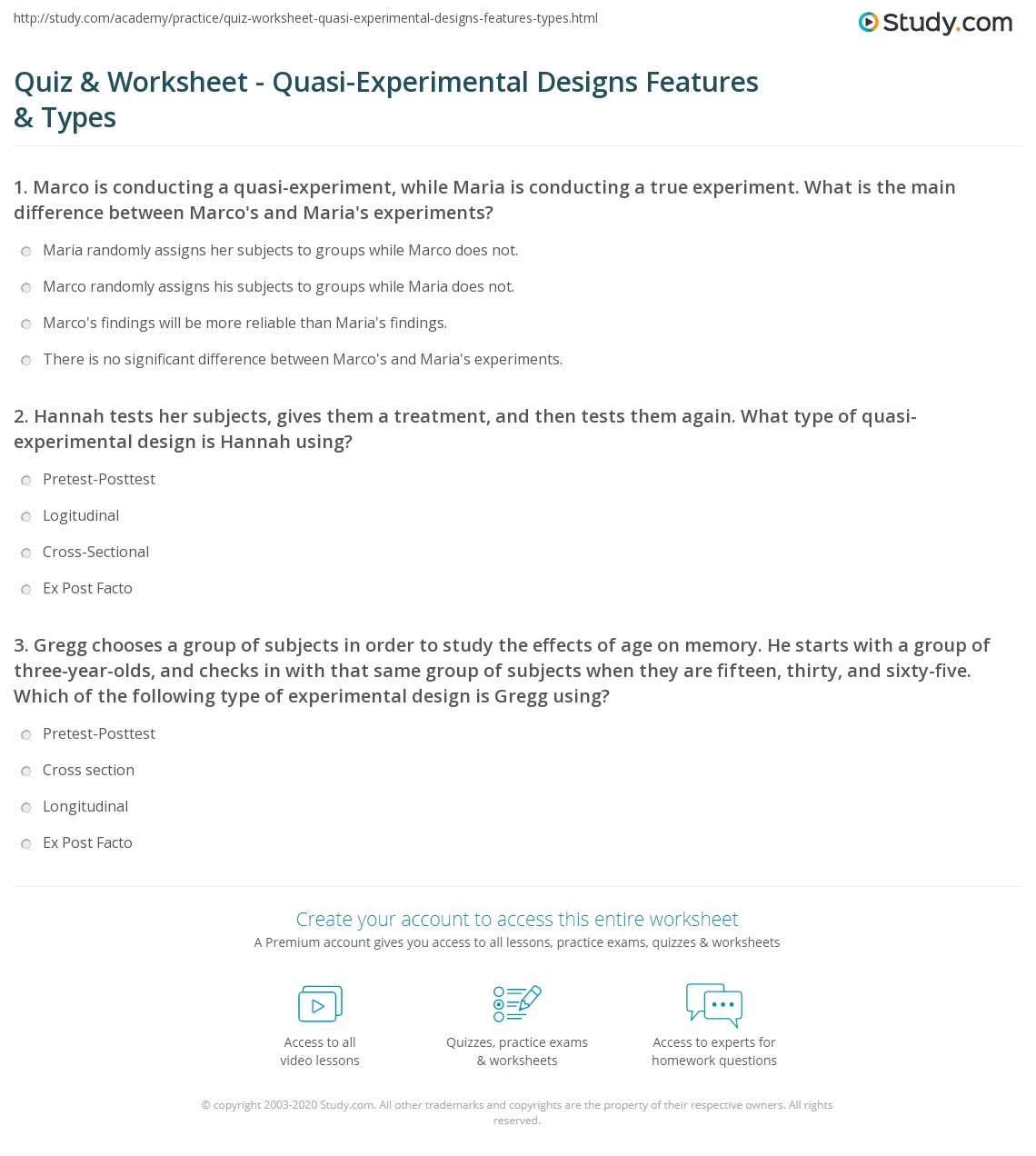 Quiz & Worksheet - Quasi-Experimental Designs Features & Types ...