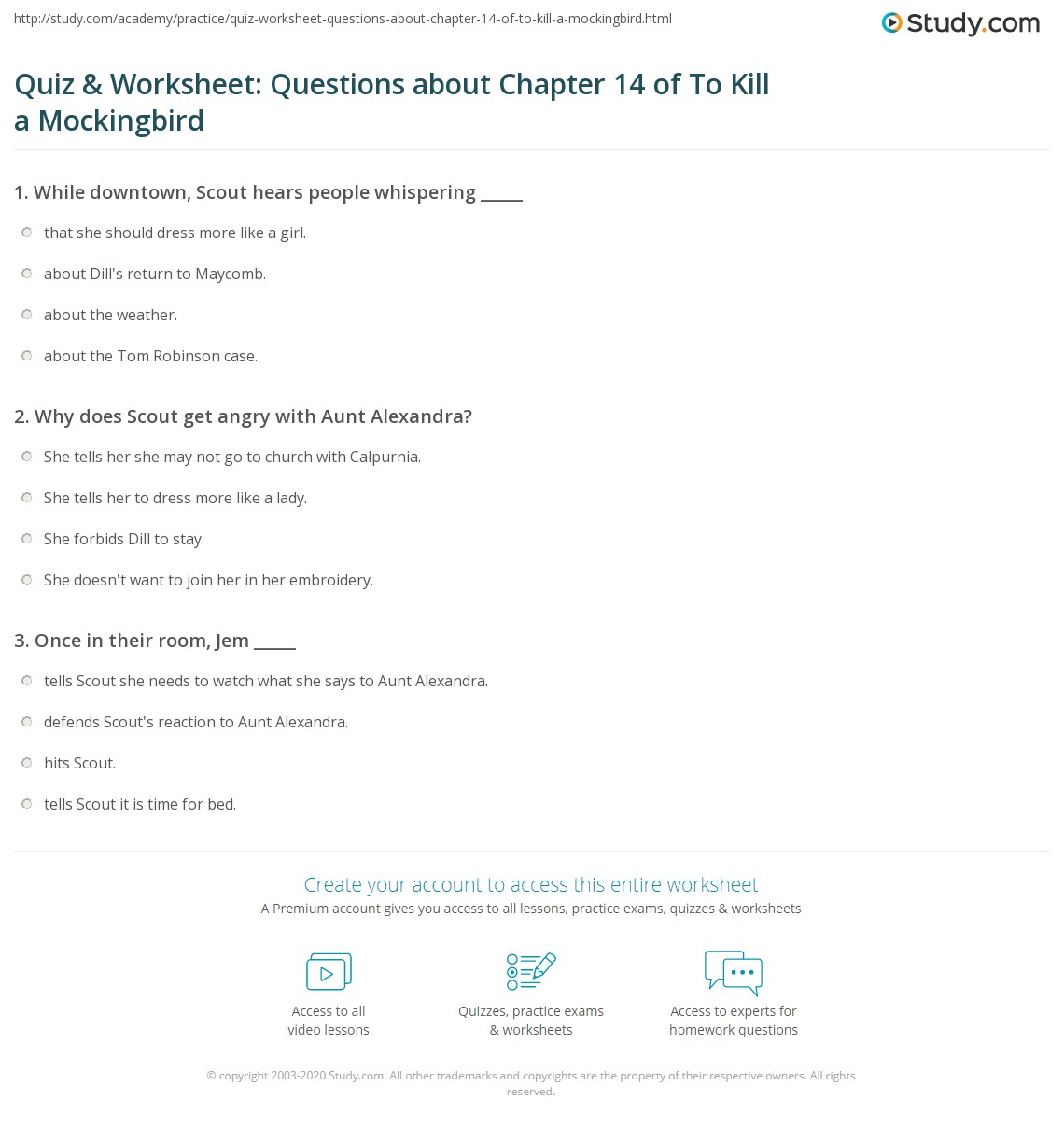 quiz worksheet questions about chapter of to kill a print to kill a mockingbird chapter 14 summary worksheet