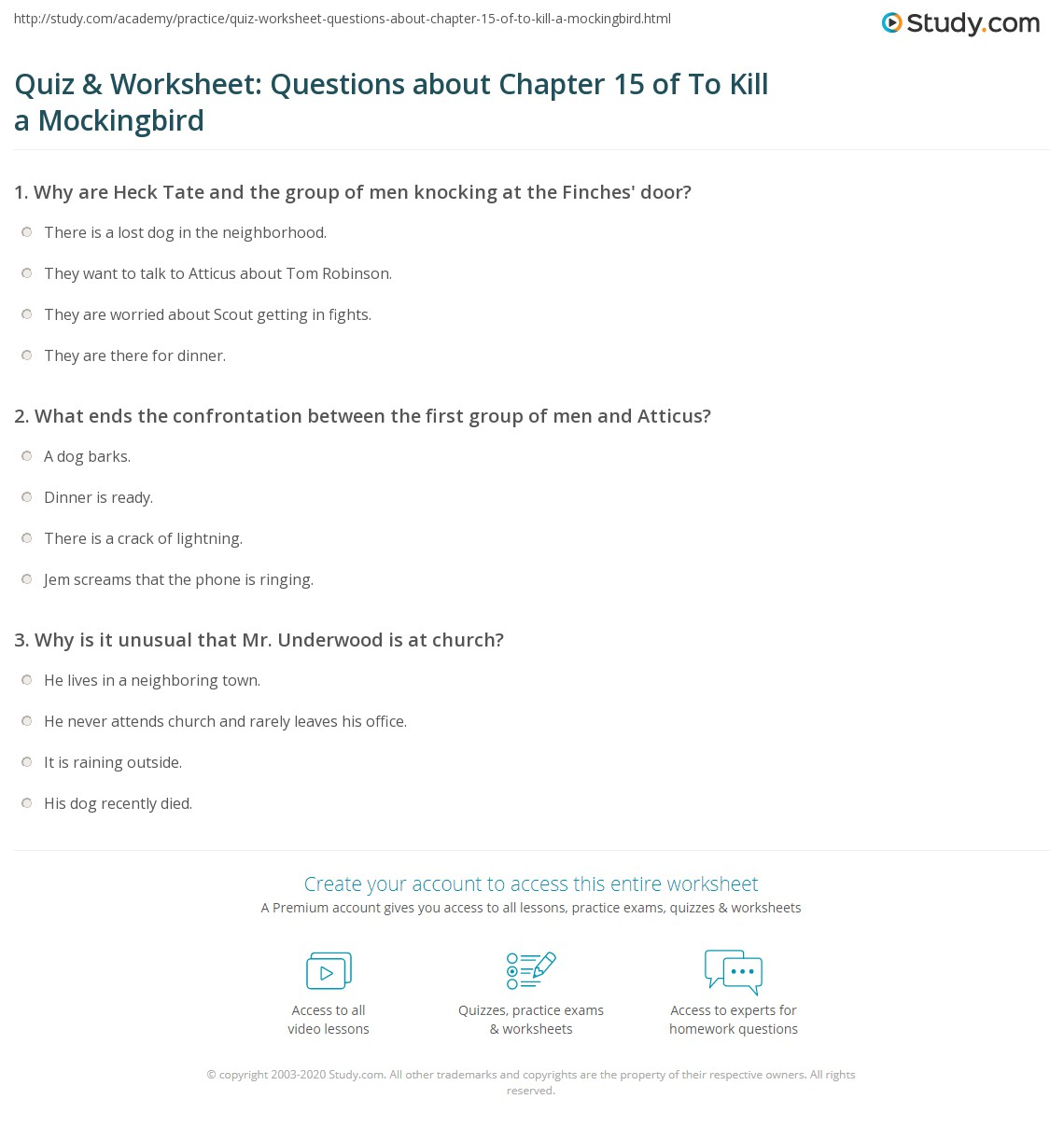 Printables To Kill A Mockingbird Worksheet Answers quiz worksheet questions about chapter 15 of to kill a print mockingbird summary worksheet