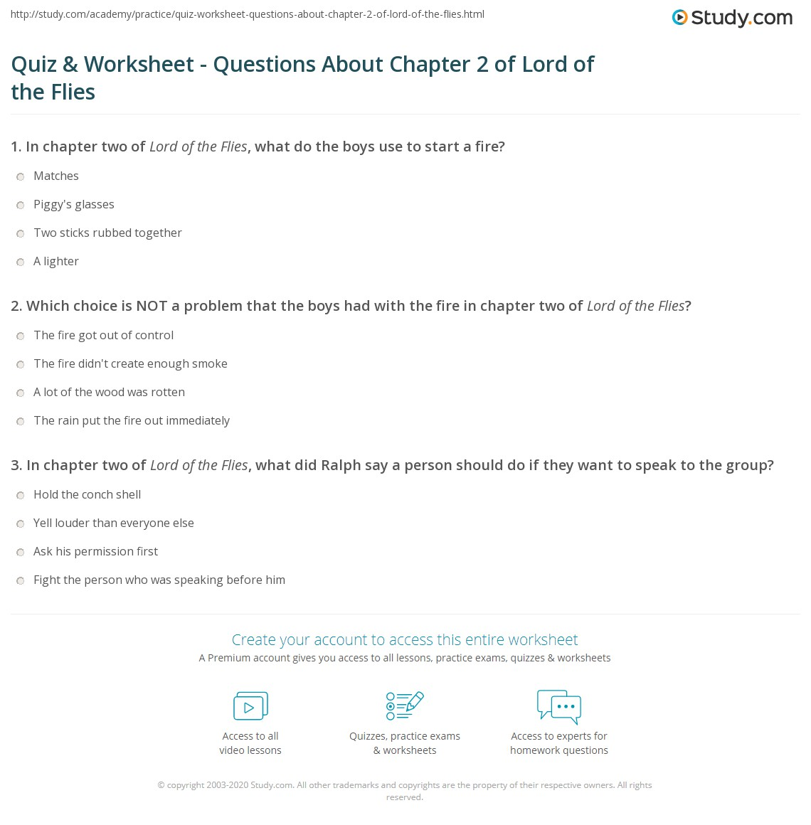 quiz worksheet questions about chapter of lord of the flies print lord of the flies chapter 2 summary quotes worksheet