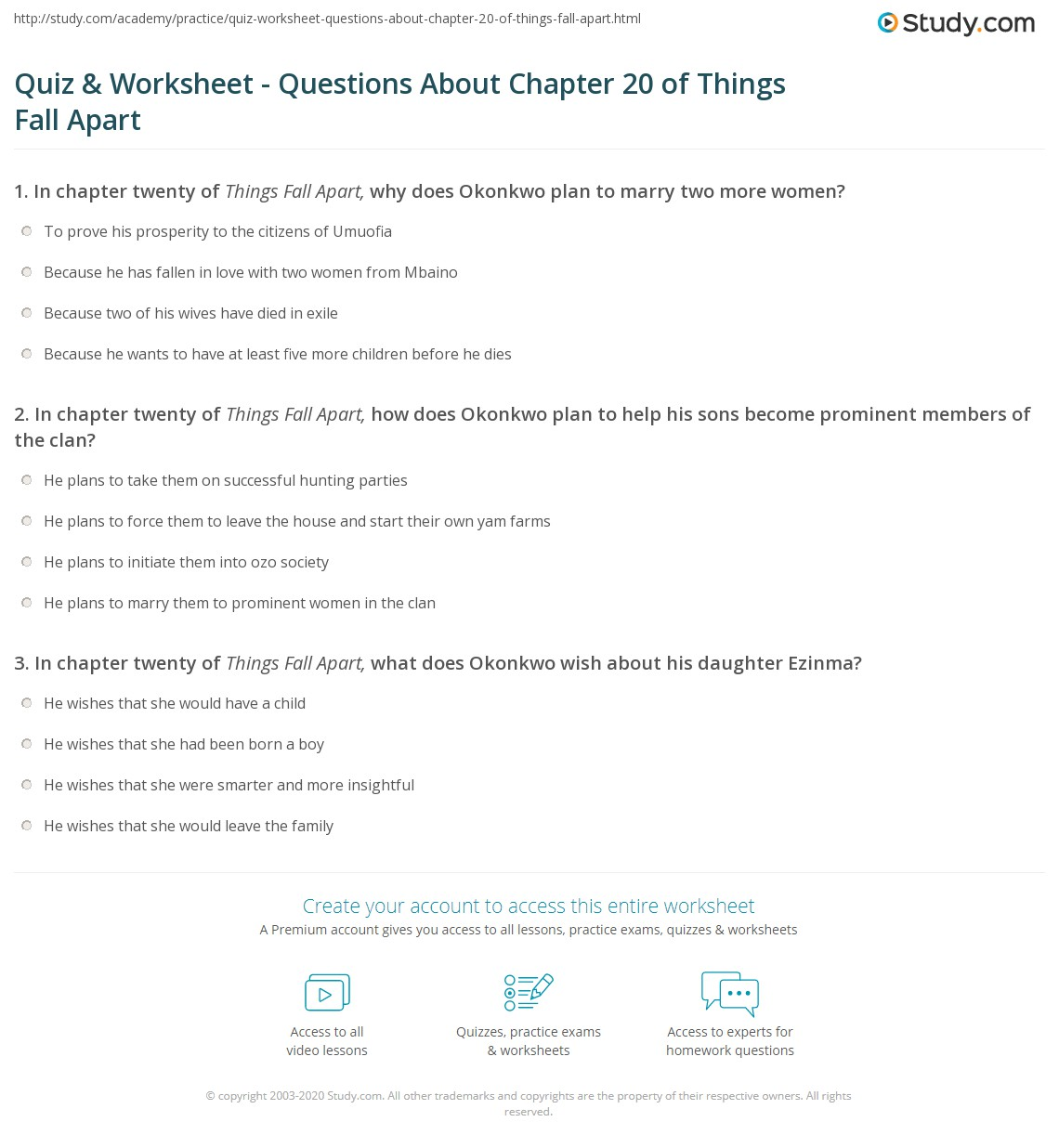 quiz worksheet questions about chapter of things fall apart print things fall apart chapter 20 summary worksheet
