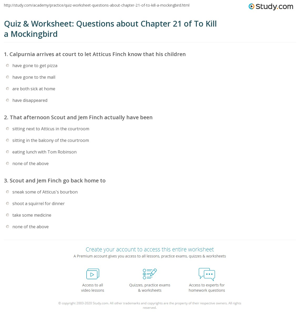 quiz worksheet questions about chapter of to kill a print to kill a mockingbird chapter 21 summary worksheet