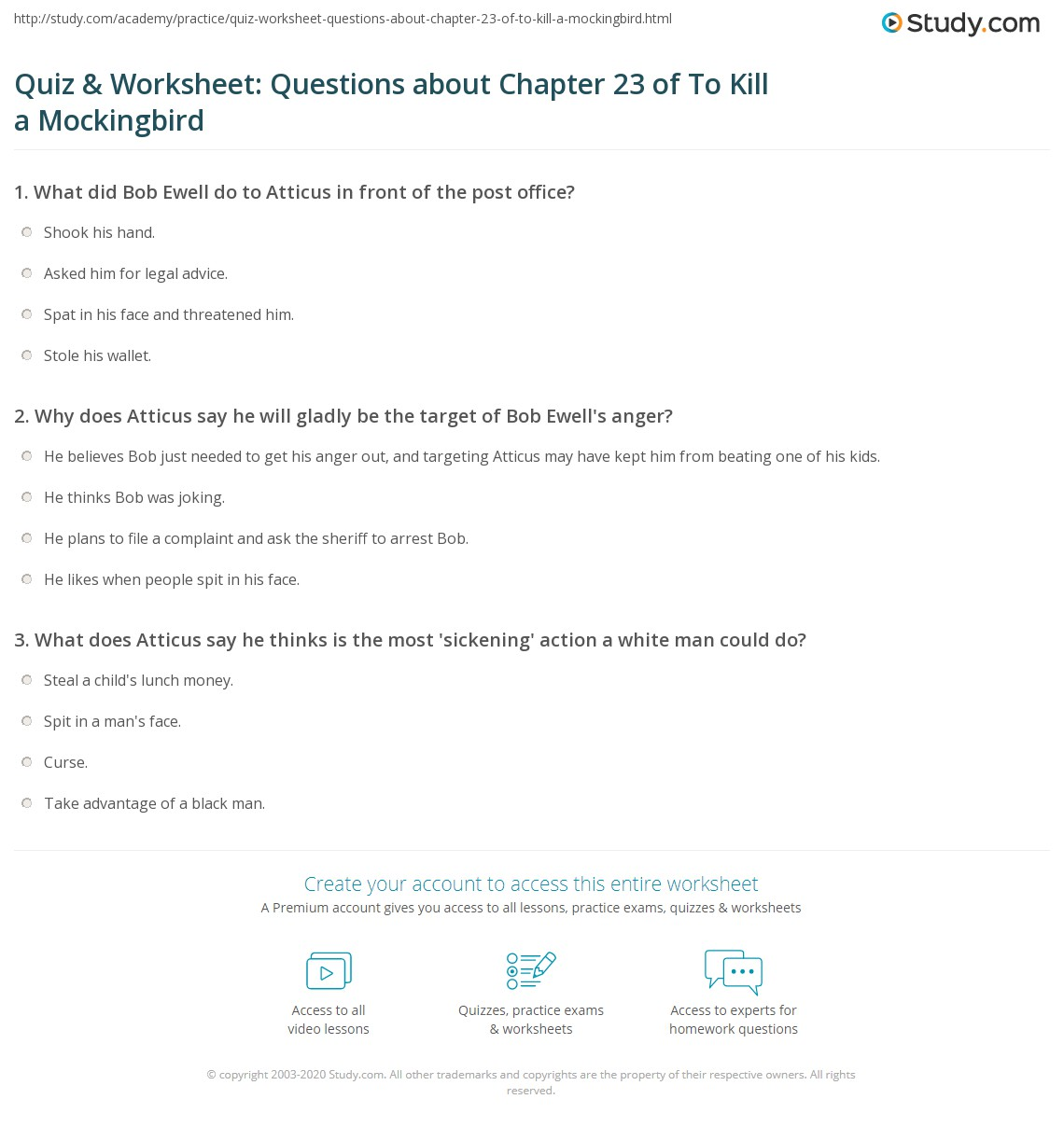 quiz worksheet questions about chapter of to kill a print to kill a mockingbird chapter 23 summary worksheet