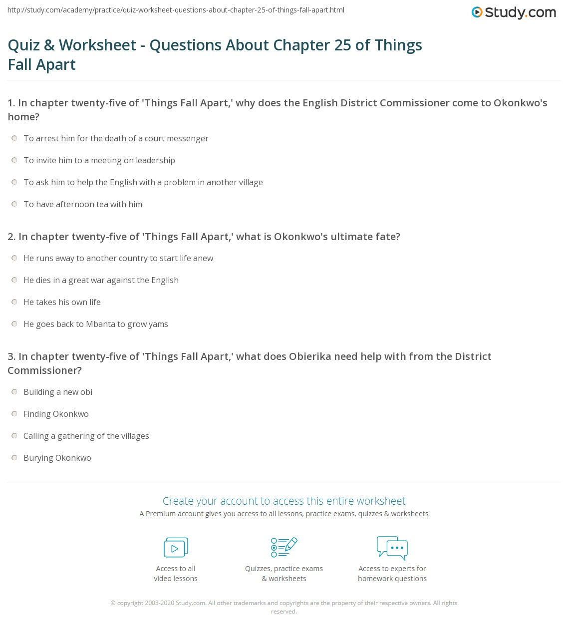 quiz worksheet questions about chapter of things fall apart print things fall apart chapter 25 summary worksheet